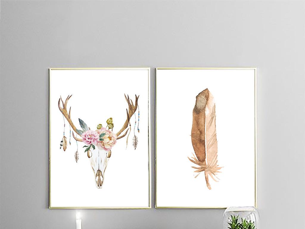 美式客厅装饰画装饰画无框画挂画壁画墙画沙发背景墙画玄关画床头画图片
