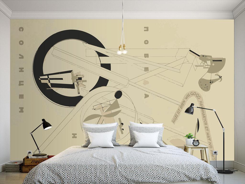 现代简约手绘涂鸦个性墙纸