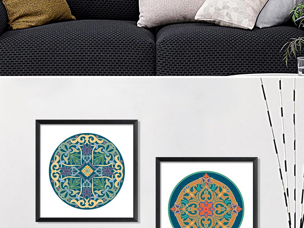 复古民族风图案抽象花纹酒店软装挂画