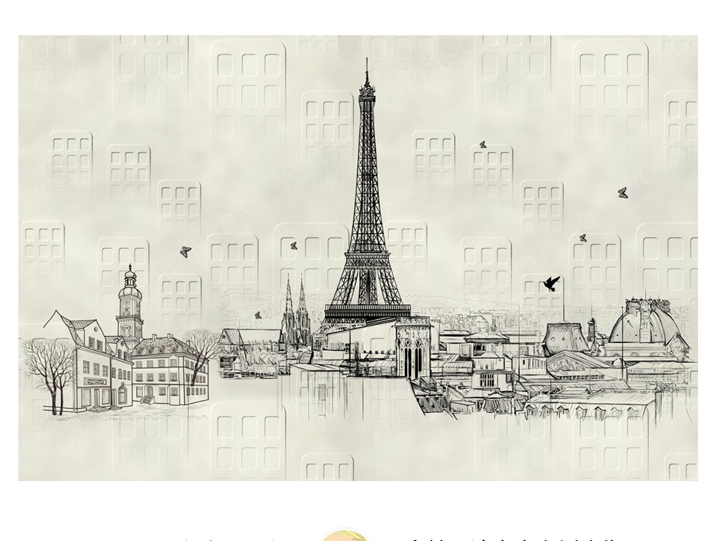 现代抽象手绘黑白城市简约宜家风格沙发背景墙