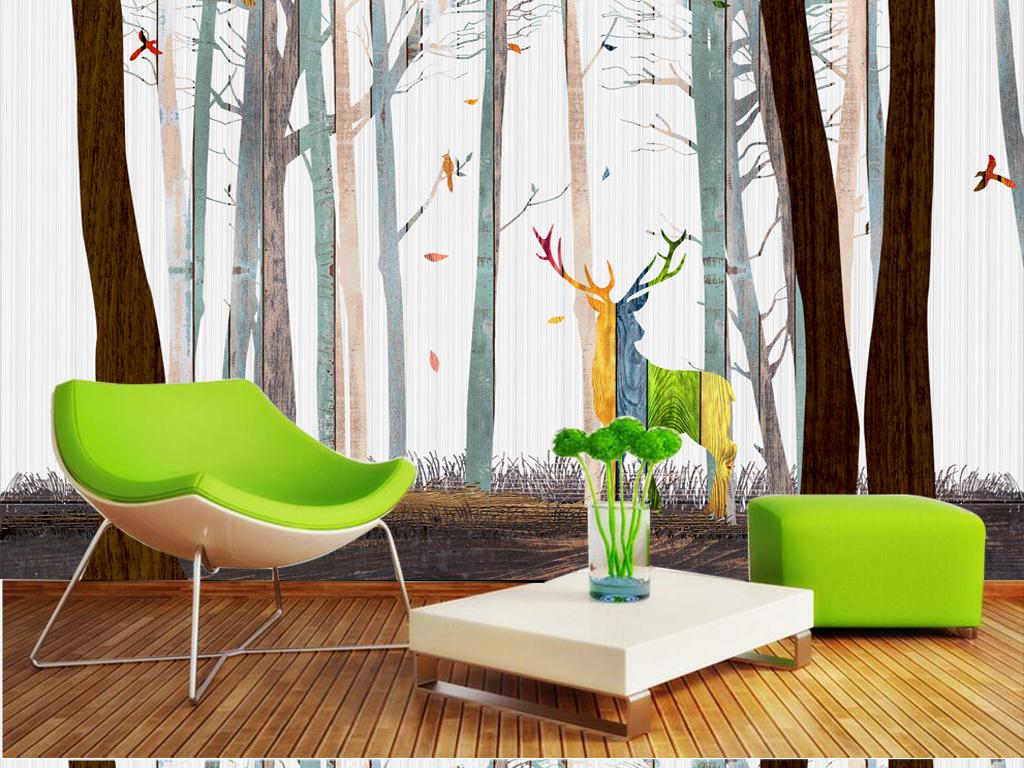麋鹿木纹森林背景墙图片