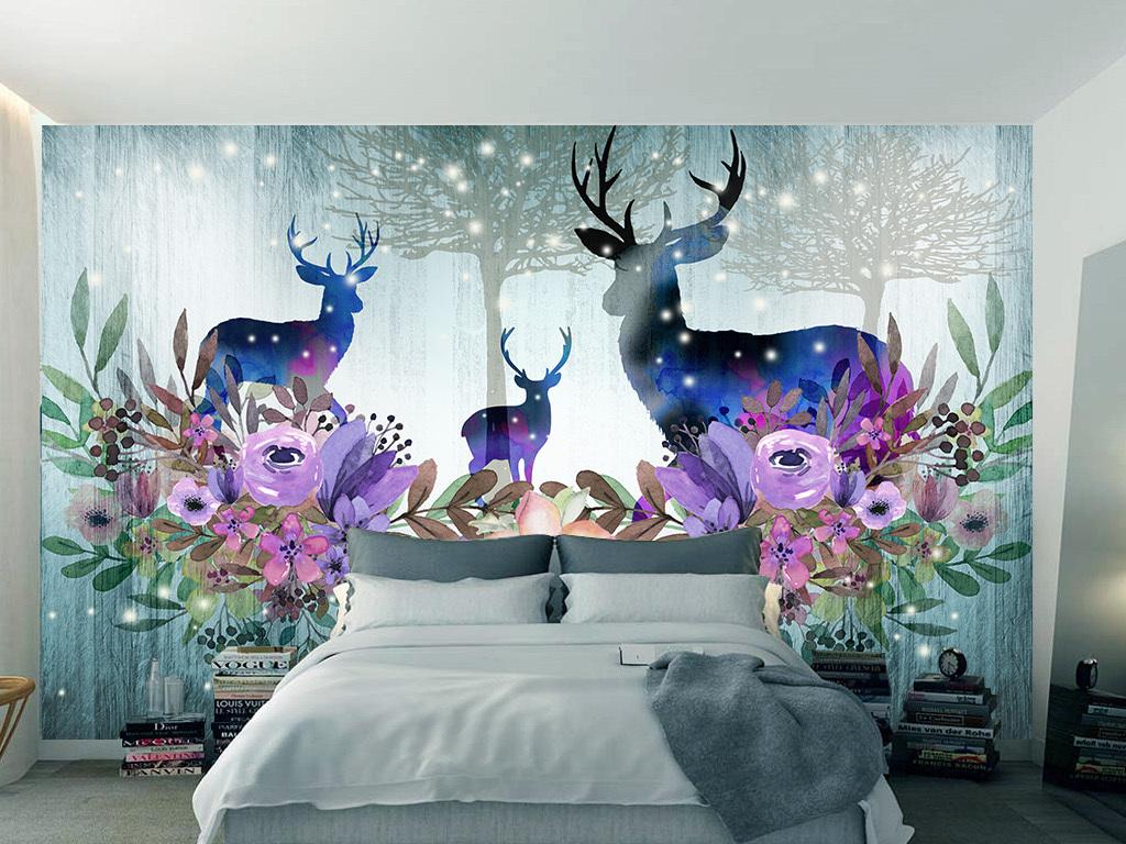 北欧手绘水彩麋鹿装饰沙发床头背景墙壁纸2