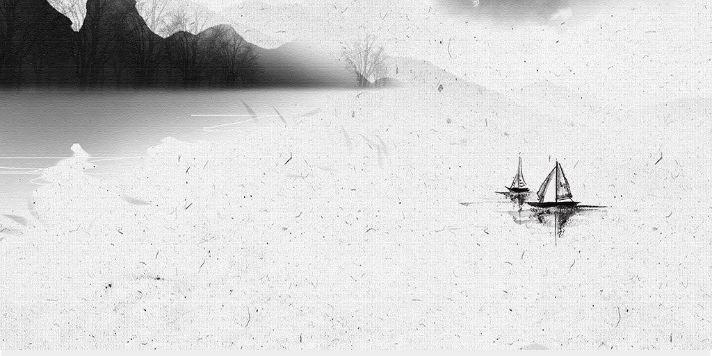 山水画黑白画中式中式水墨意境水墨装饰画中式手绘中式意境山河水墨图片