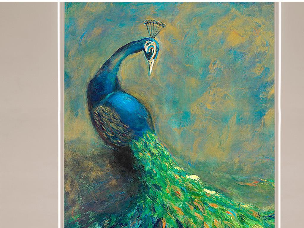 墙纸装饰油画手绘立体绿孔雀小花朵凤凰玄关图片欧式背景孔雀背景室内图片