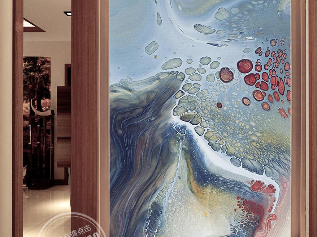 抽象手绘艺术图案玄关背景墙