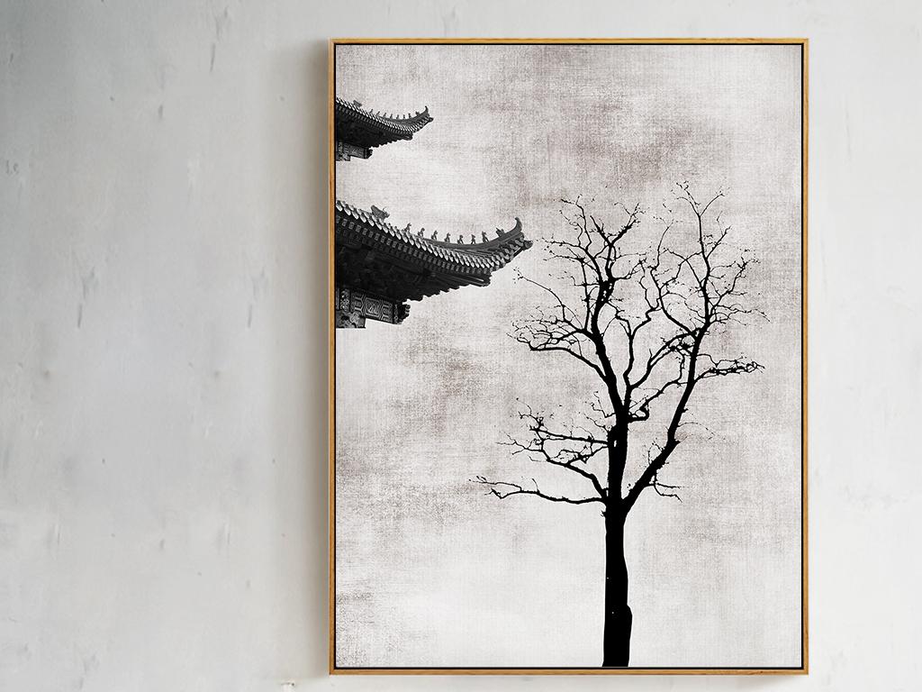 作品模板源文件可以编辑替换,设计作品简介: 新中式心灵写意屋檐树枝图片