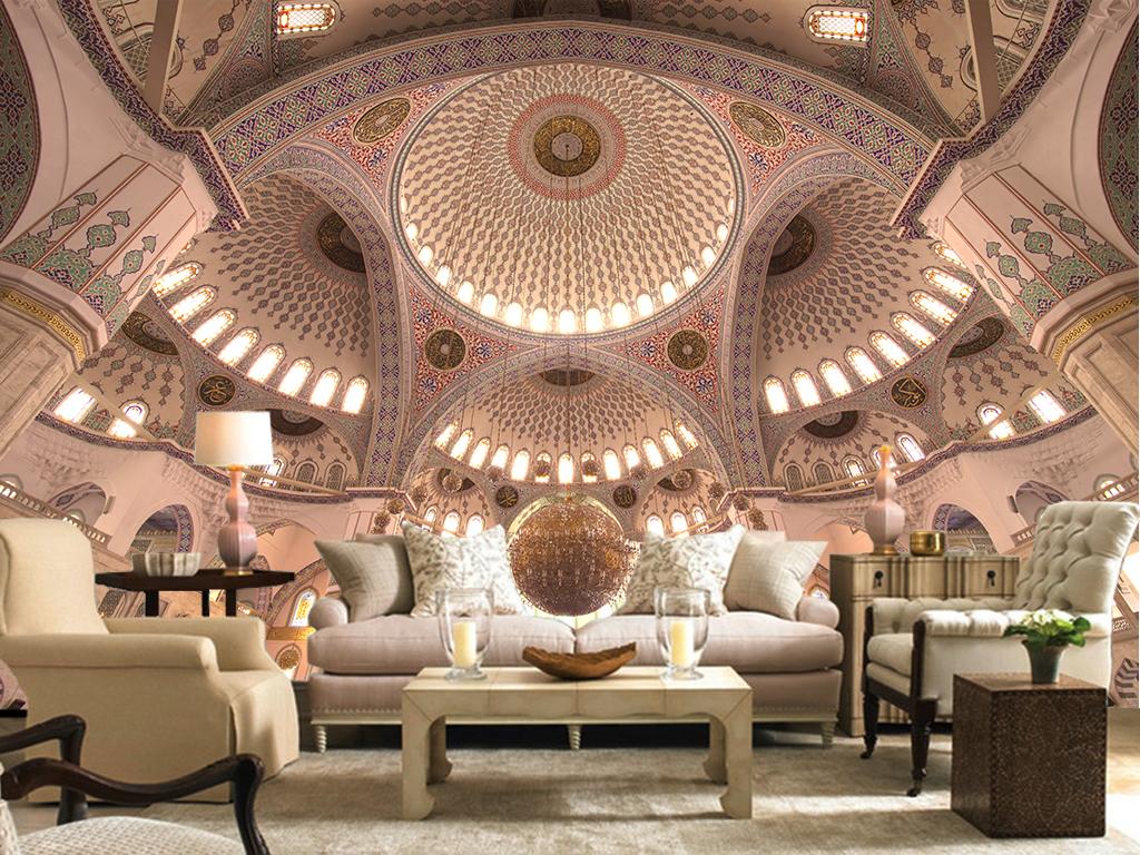 3d大气欧式宫殿吊顶客厅电视背景墙图片