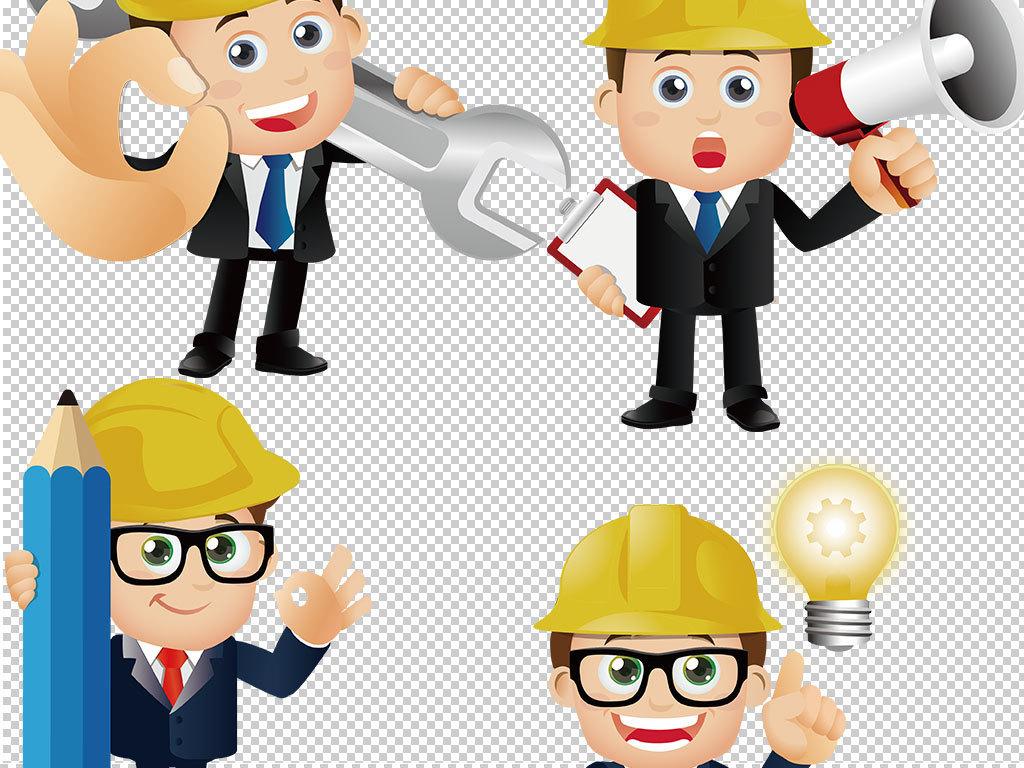 卡通工程师人物职业图片海报素材