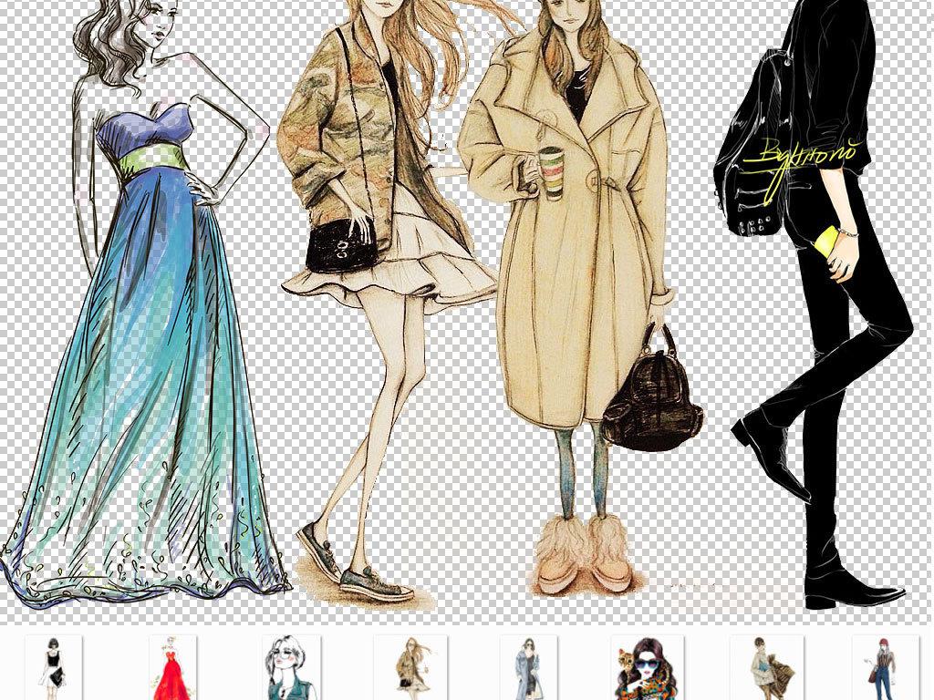 卡通手绘模特人物图片海报素材