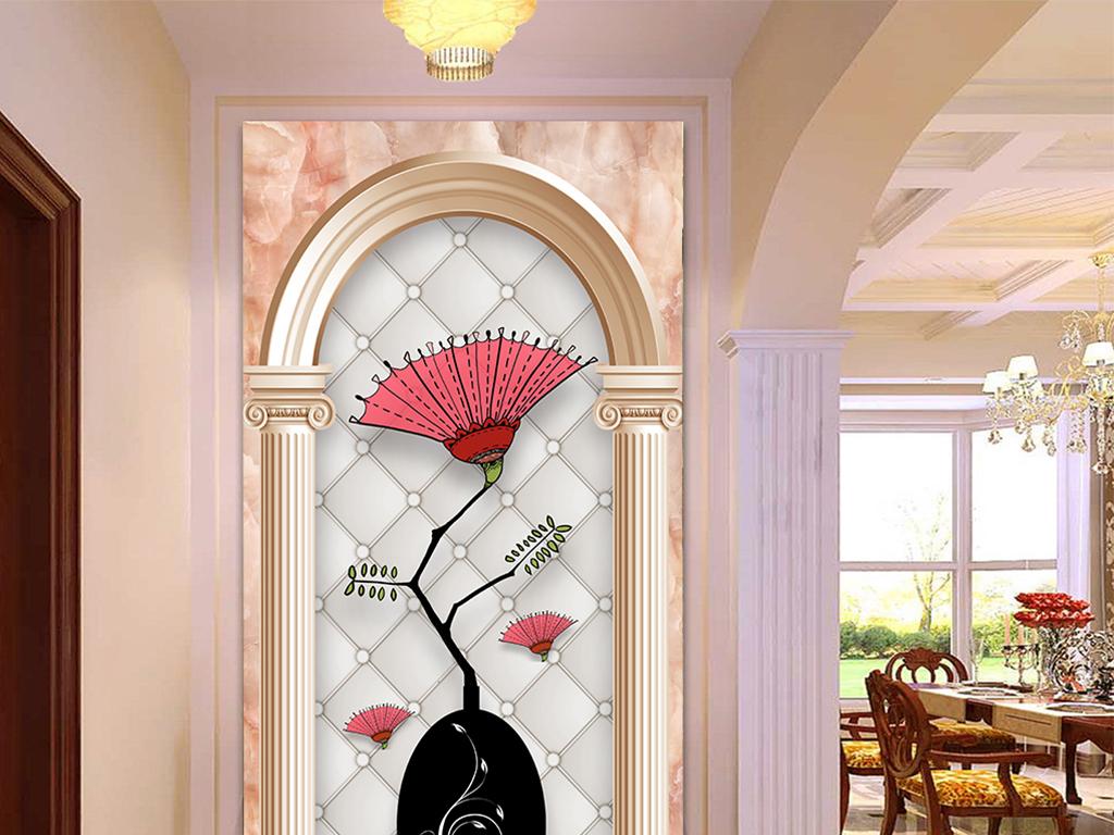 欧式罗马柱大理石软包合欢花玄关背景墙图片