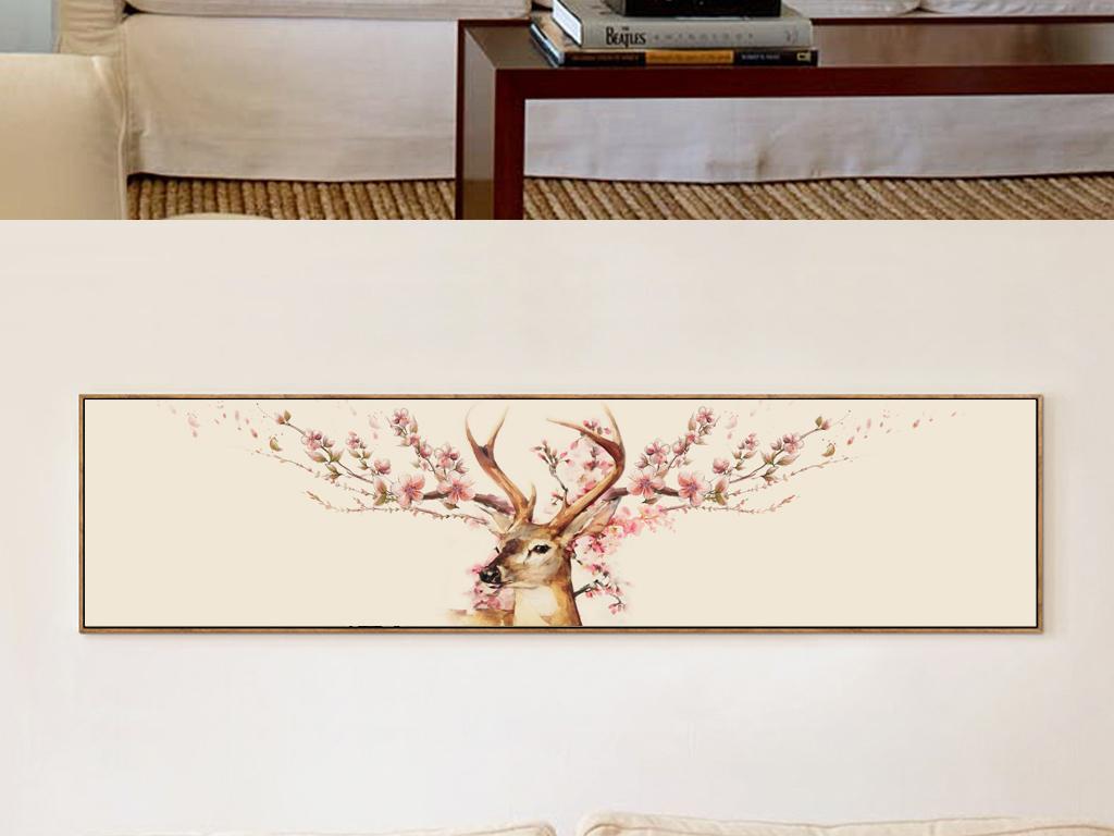 麋鹿樱花麋鹿抽象手绘欧式怀旧驯鹿床头画