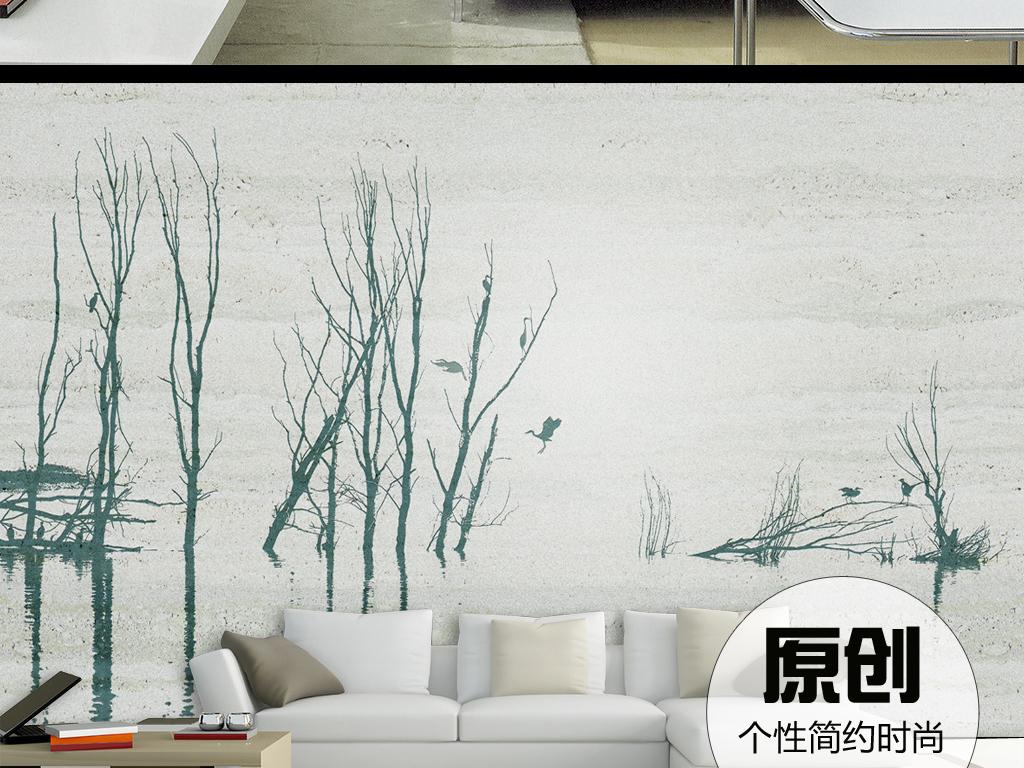 墙面装饰墙纸手绘森林树枝写意水墨风景山水画高雅宁静时尚个性品位