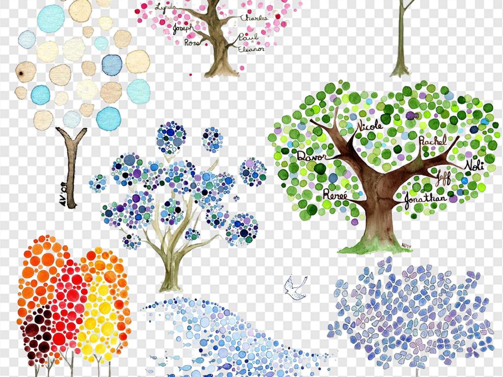 创意小树创意植物素材卡通小树