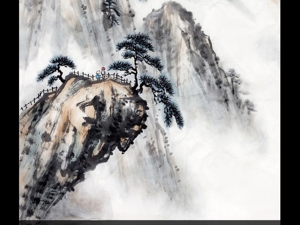 新中式水墨山水画玄关背景墙(珍藏版)图片