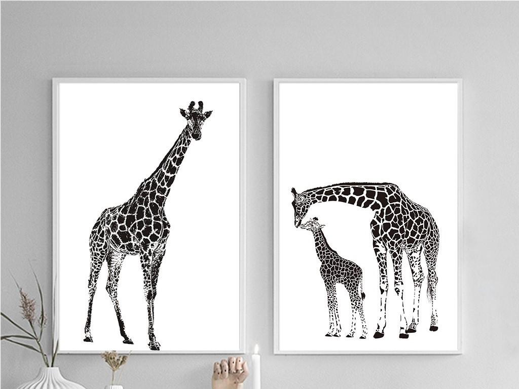沙发背景墙画                                  家居装饰画动物类