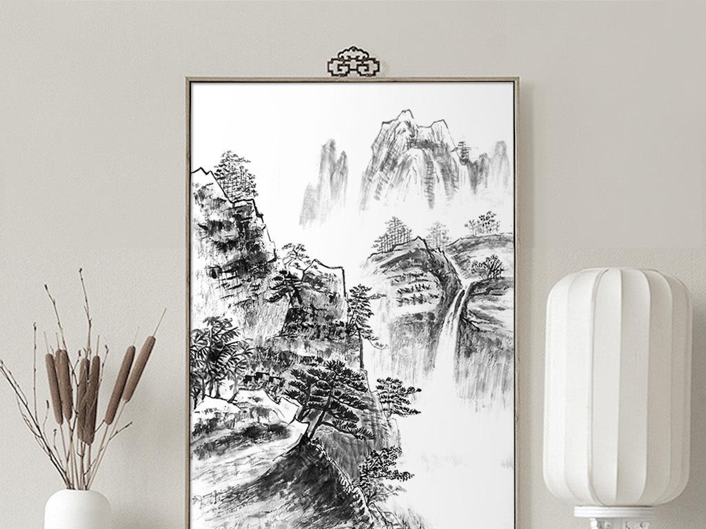 简约新中式山水手绘黑白中国风无框画