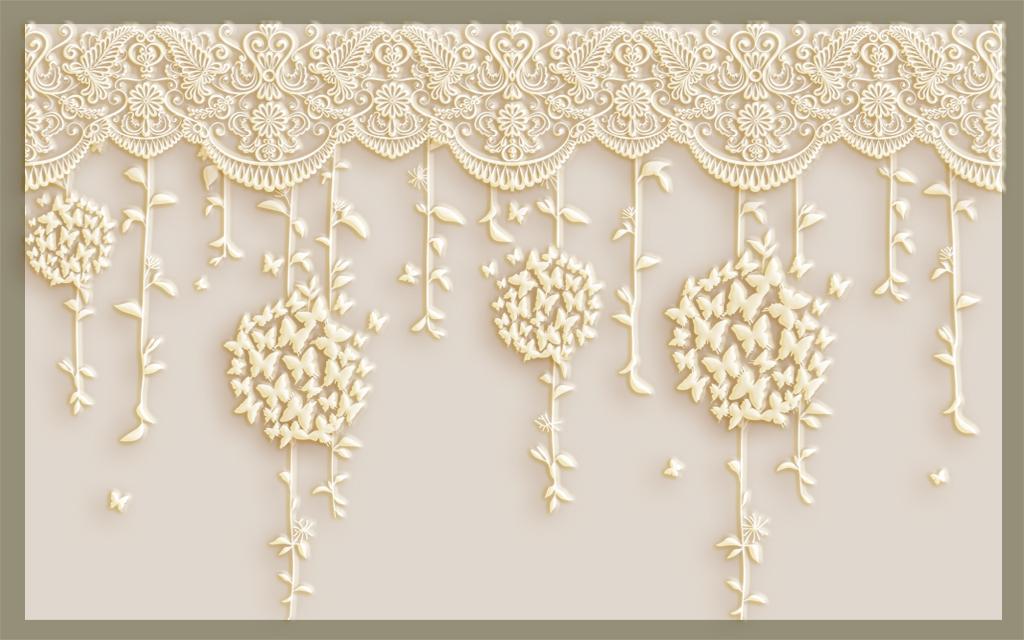工装壁画墙纸壁纸现代时尚浪漫欧式手绘简约挂藤绿色淡雅抽象藤条团花图片