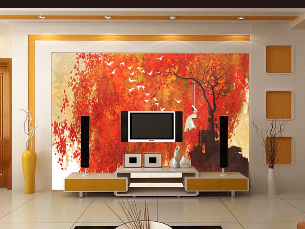 彩绘枫叶电视背景墙图片