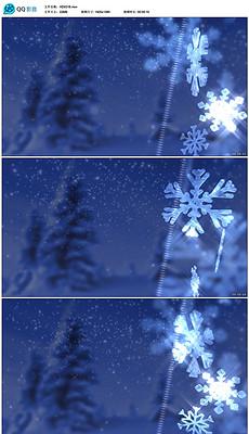 3D雪花旋转下雪飘雪蓝色雪景片头片尾视频