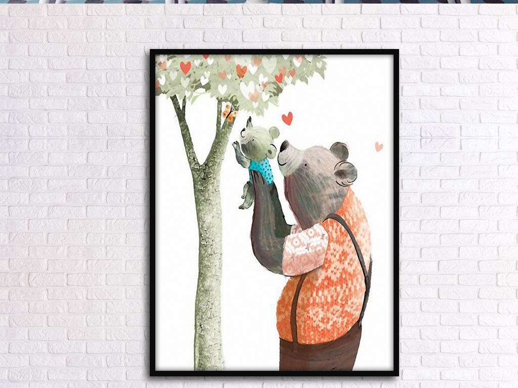 手绘现代小熊维尼熊卡通熊爸爸小熊维尼泰迪熊爷爷奶奶爸爸妈妈玩具熊