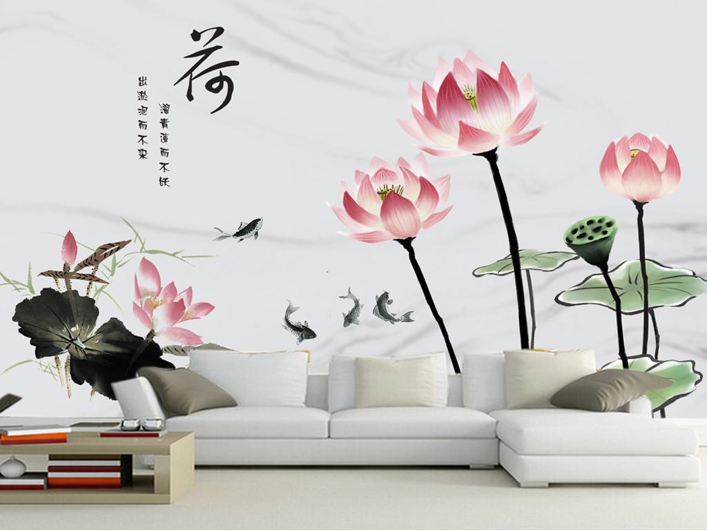中式高清手绘清新荷花背景墙壁画