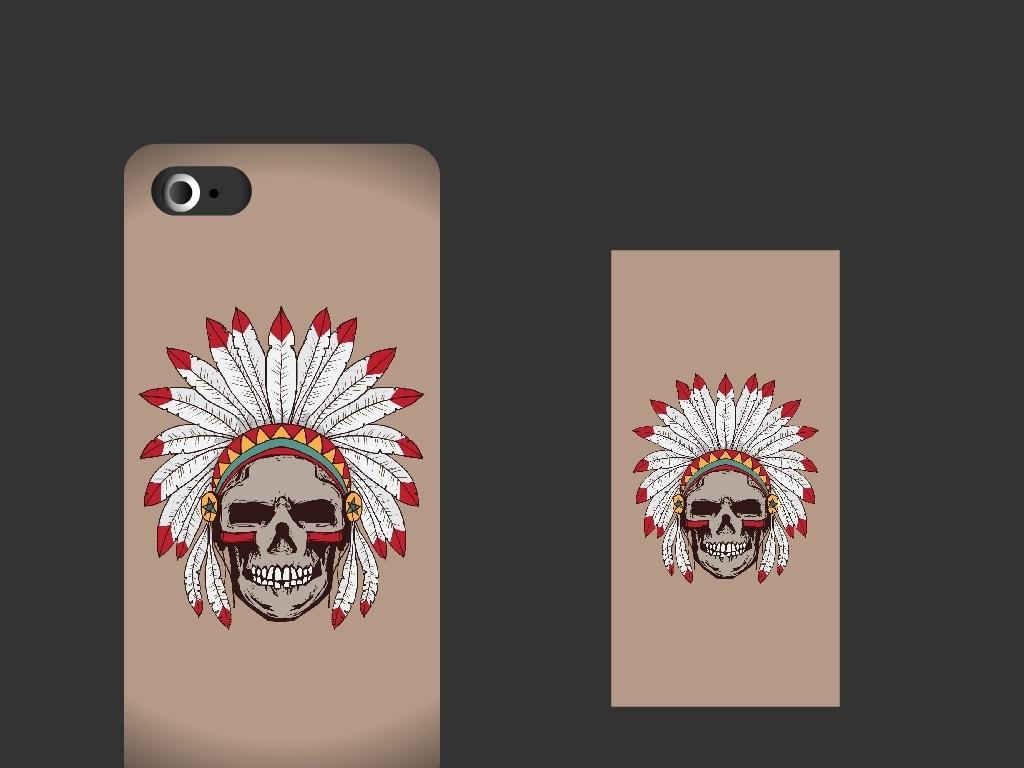 创意手绘印第安骷髅手机壳