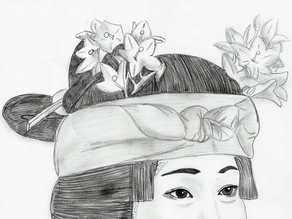 手绘线描日本艺伎日本仕女图日式风格装饰画5幅