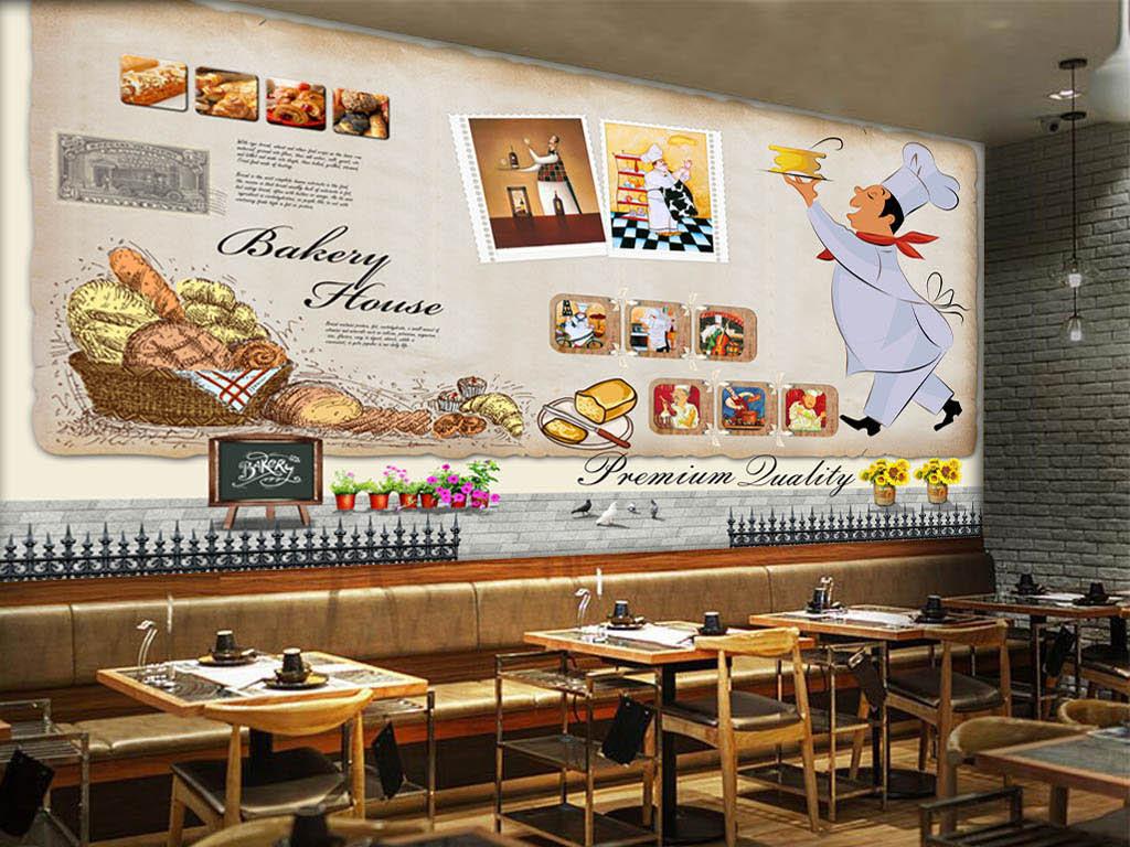 欧美手绘面包店背景墙