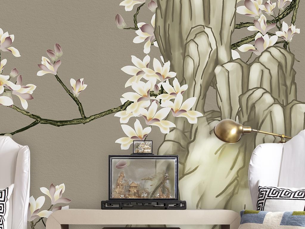 玉兰花开富贵室雅兰香新中式花鸟背景墙壁画图片