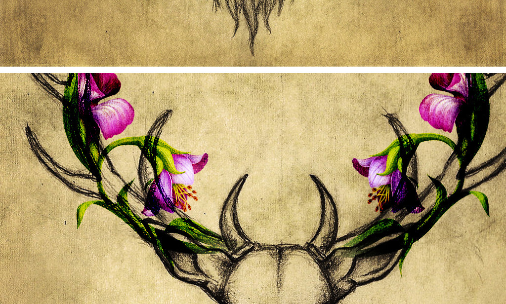 背景北欧背景手绘人物手绘墙手绘背景墙麋鹿花朵花朵装饰画装饰画简约
