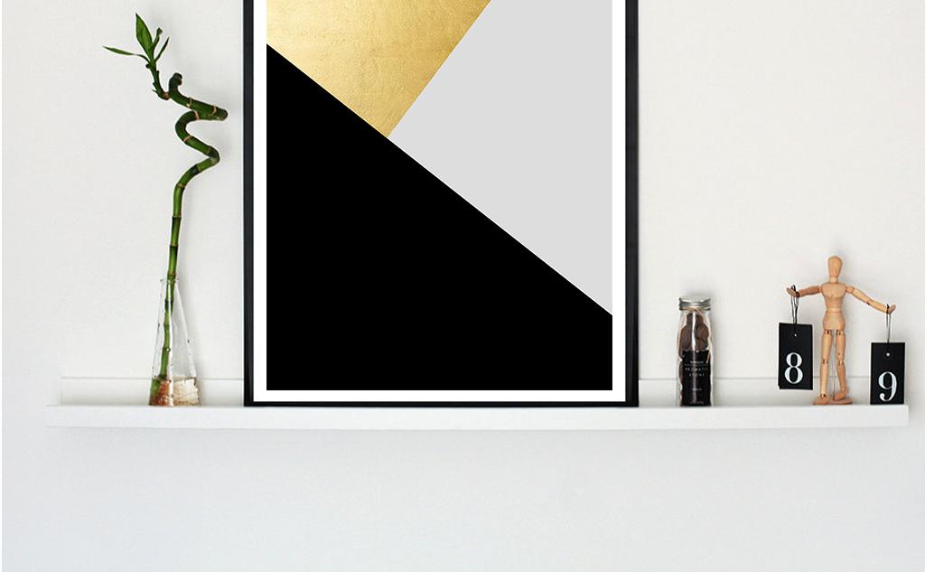 北欧现代极简质感几何形无框画图片