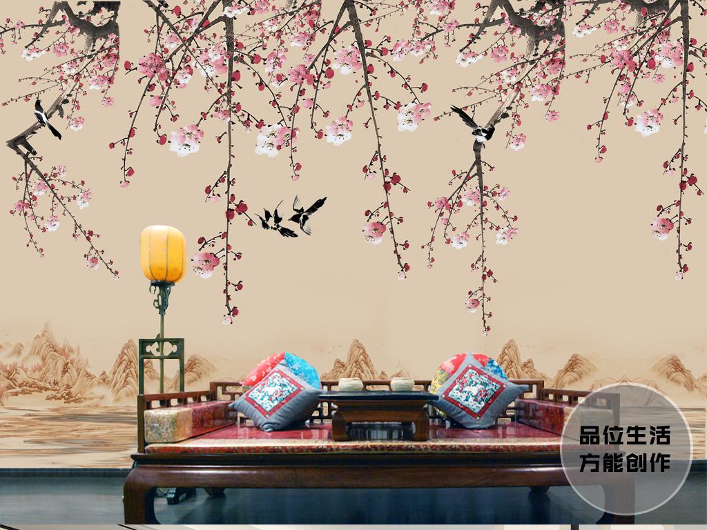 简约新中式现代工笔画桃花喜鹊山水画背景墙图片
