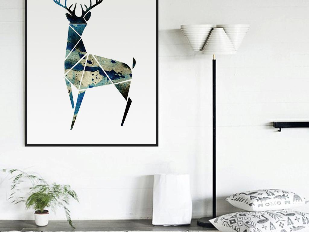 北欧现代极简水彩肌理梅花鹿无框画图片