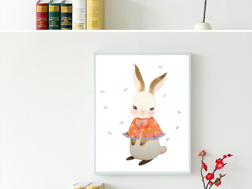 兔子水彩手绘色彩绿叶简约三联唯美小清新卡通画家居设计卡通画家油画