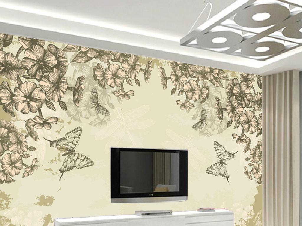 手绘花卉花朵电视背景墙