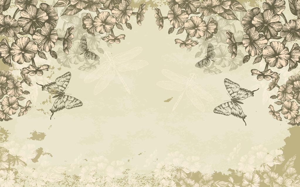 手绘花朵蜻蜓电视背景墙图片玻璃电视背景墙图片客厅电视背景墙3d电视