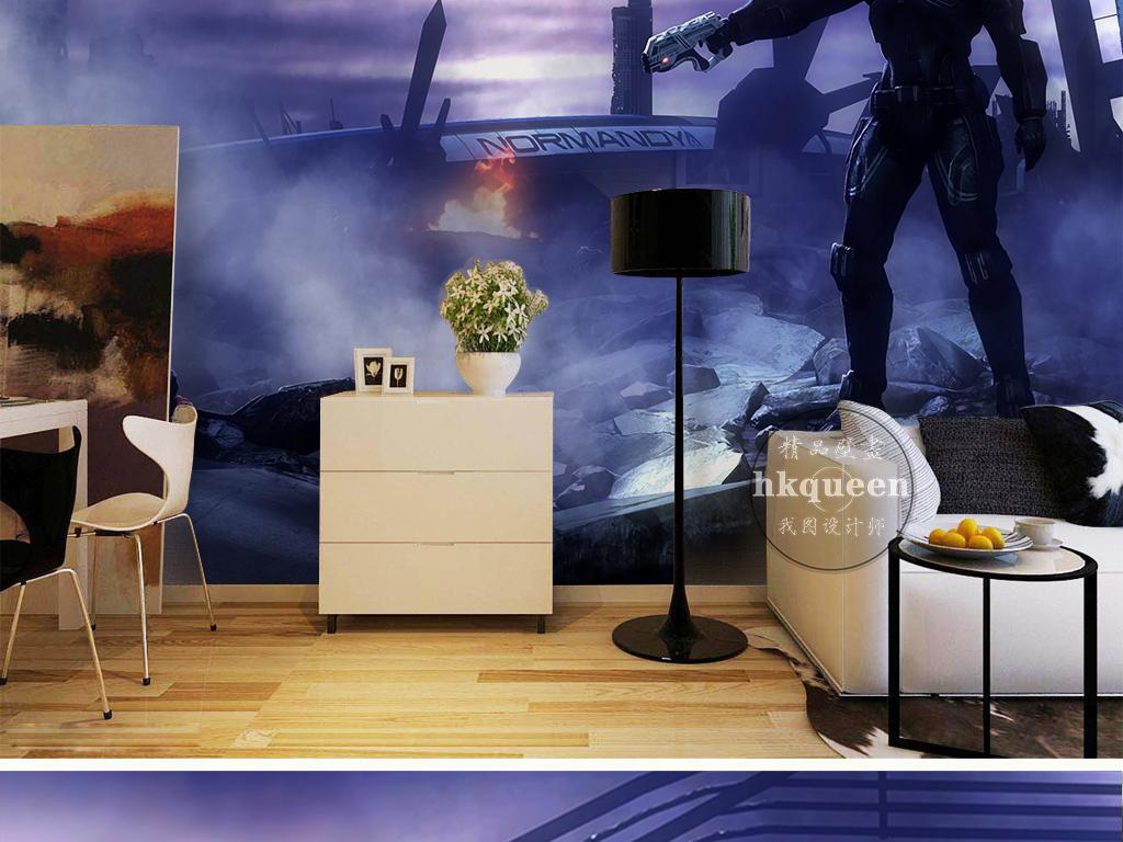 背景墙|装饰画 电视背景墙 手绘电视背景墙 > 蓝色梦幻大气网吧酷炫