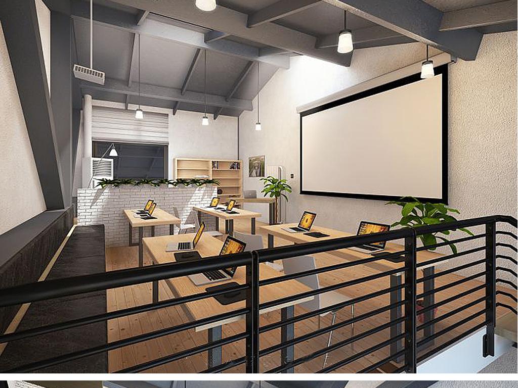 loft工业风创意精品办公室su模型图片