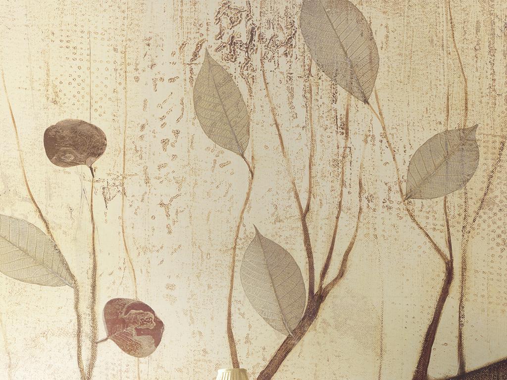 现代简约北欧欧式美式油画抽象树叶壁画背景 位图, rgb格式高清大图图片