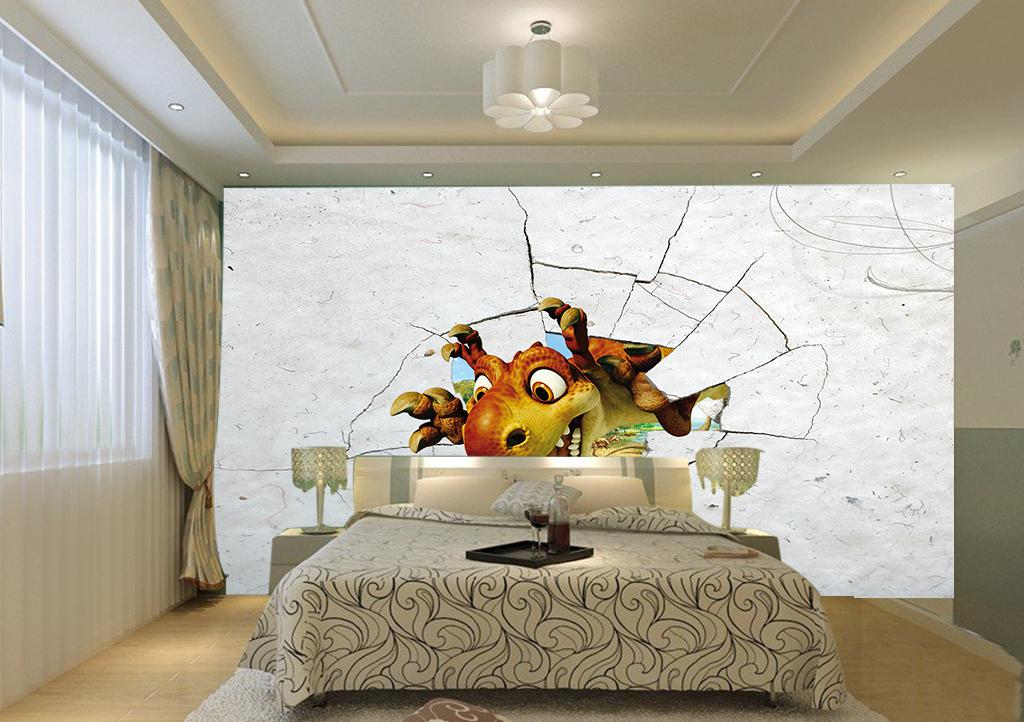 动物大自然破墙而入3d背景儿童房3d壁画卧室破壁墙洞