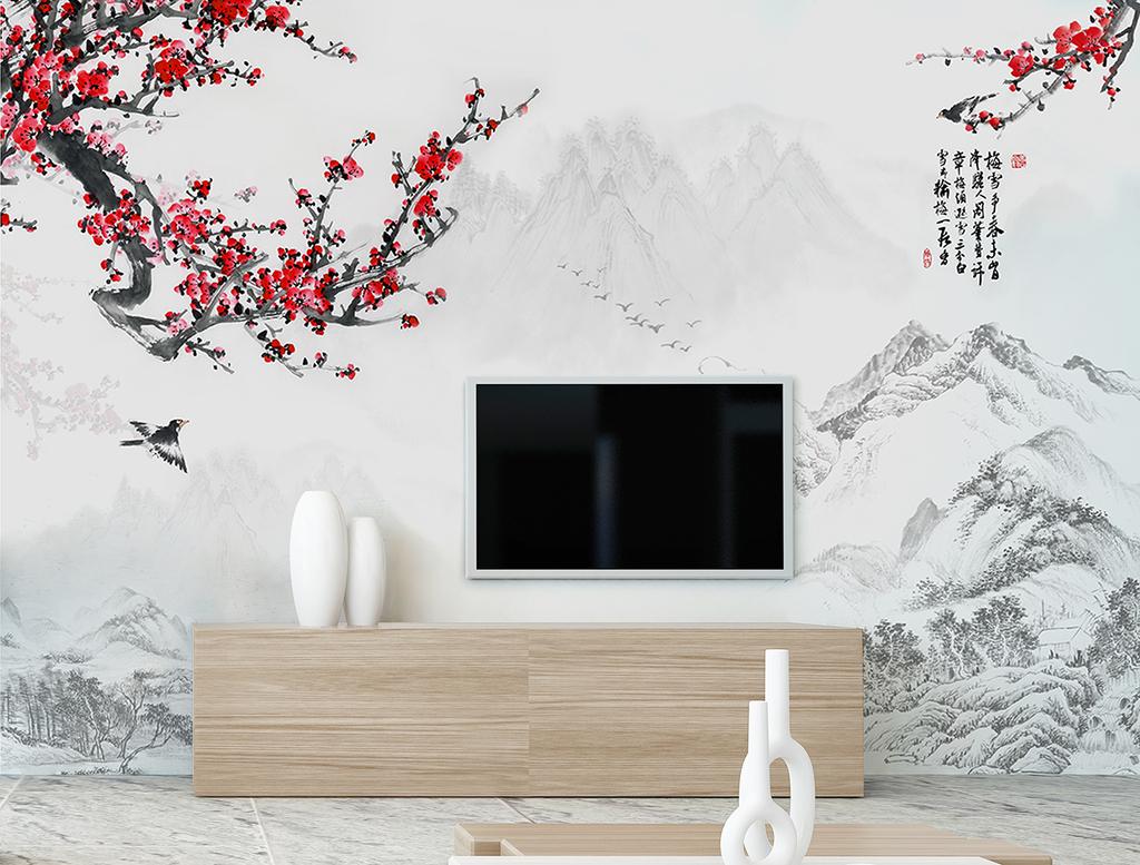 2017年新中式梅花电视背景墙图片