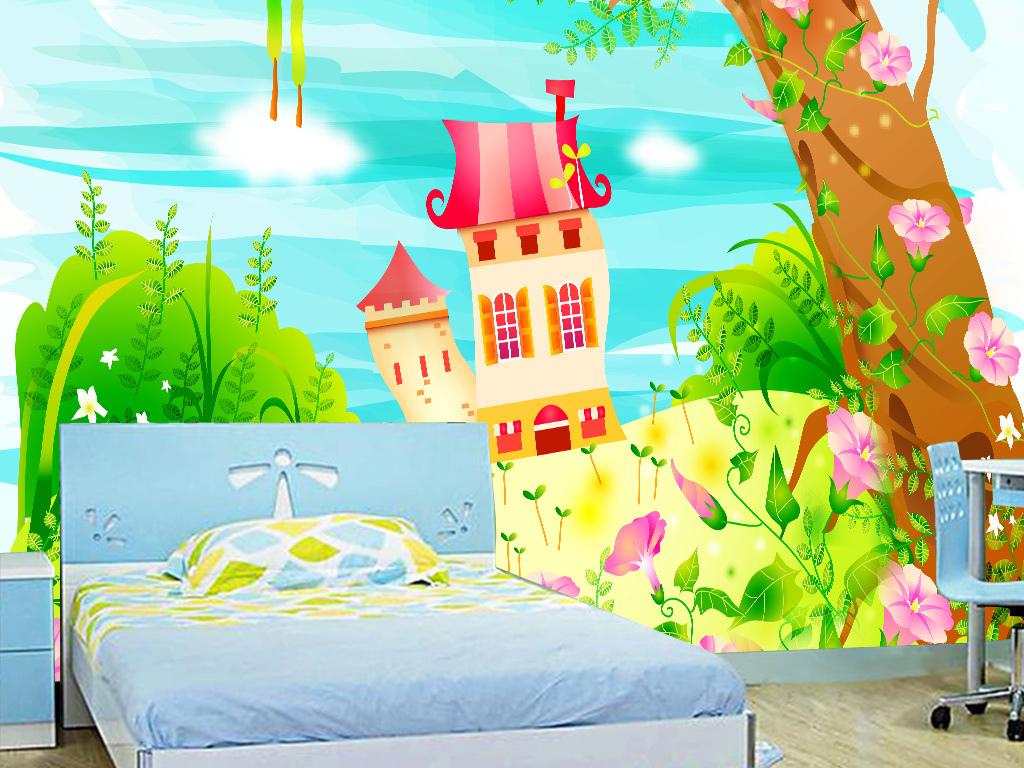 创意小清新卡通画儿童房卧室背景墙