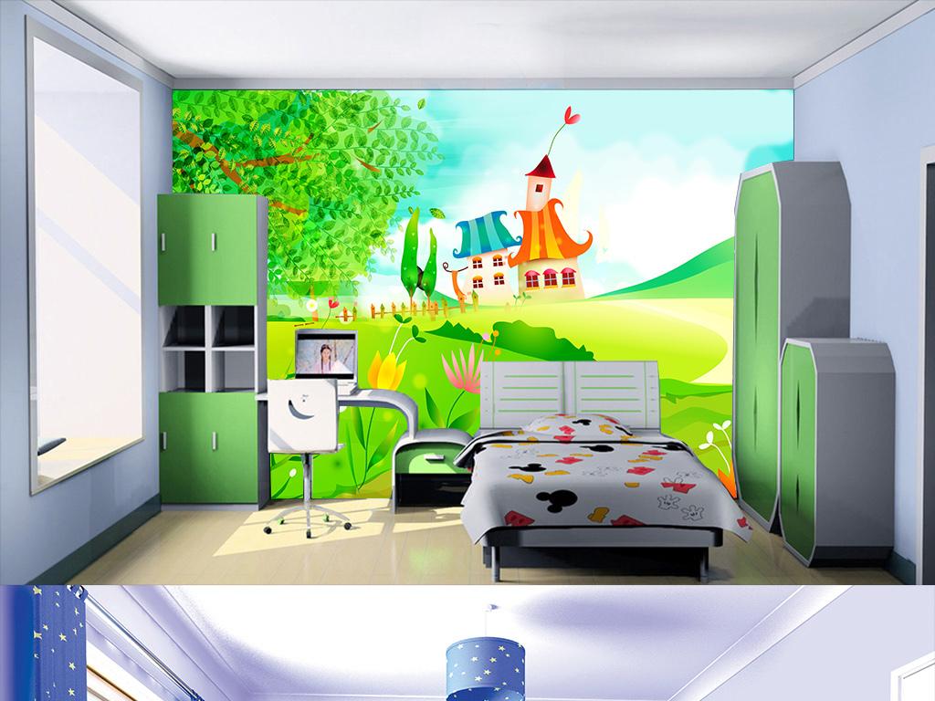 水彩卡通画儿童卧室背景墙