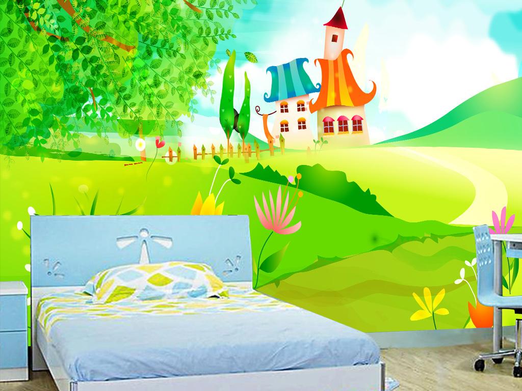 手绘水彩卡通画儿童房卧室背景墙