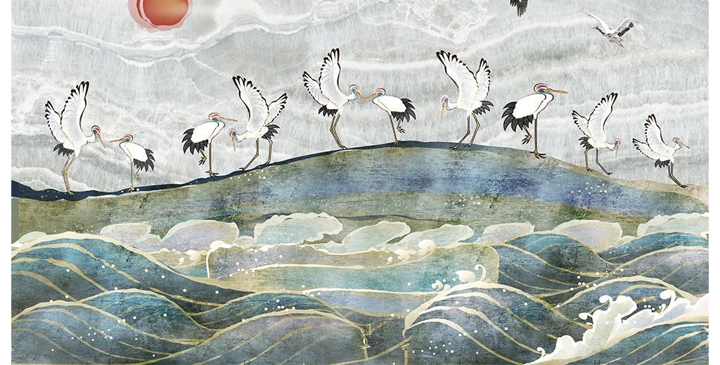 手绘白鹤大海背景墙装饰画