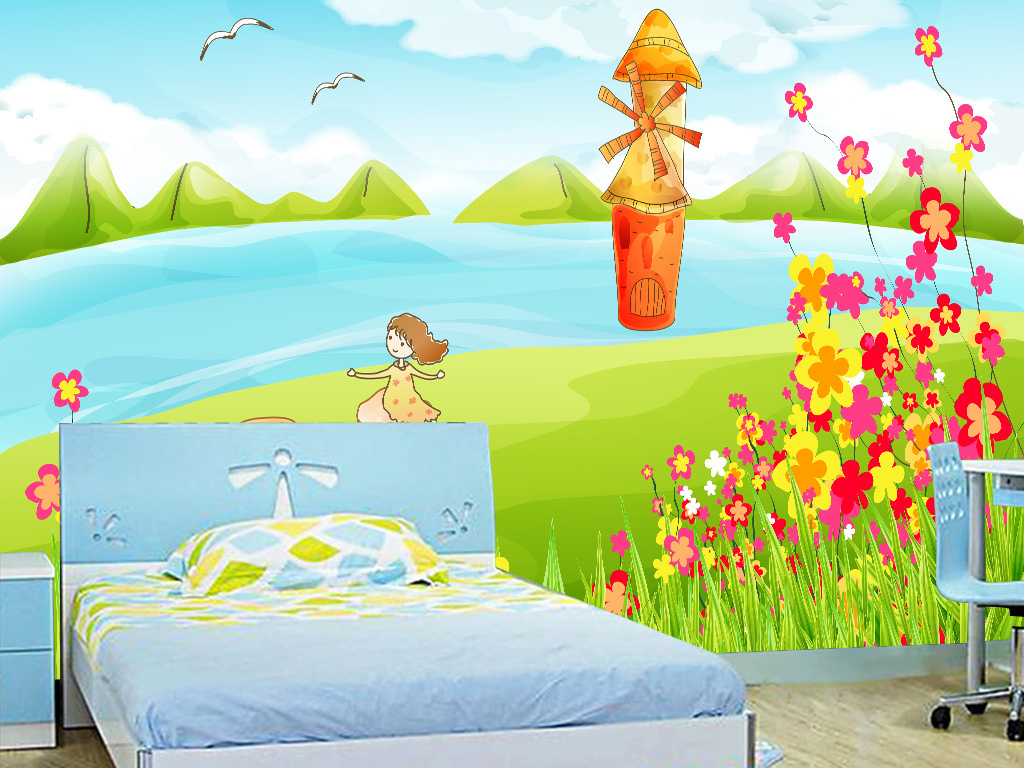 手绘小清新卡通画儿童房卧室背景墙
