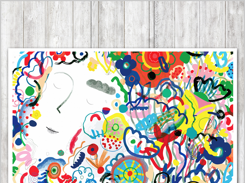 线条背景涂鸦插画手绘涂鸦现代卡通室内装饰画人物