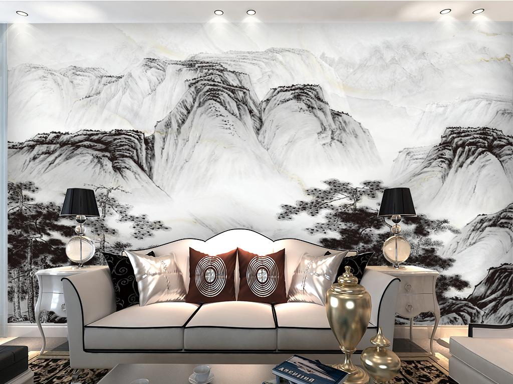 高清新中式水墨画背景墙图片
