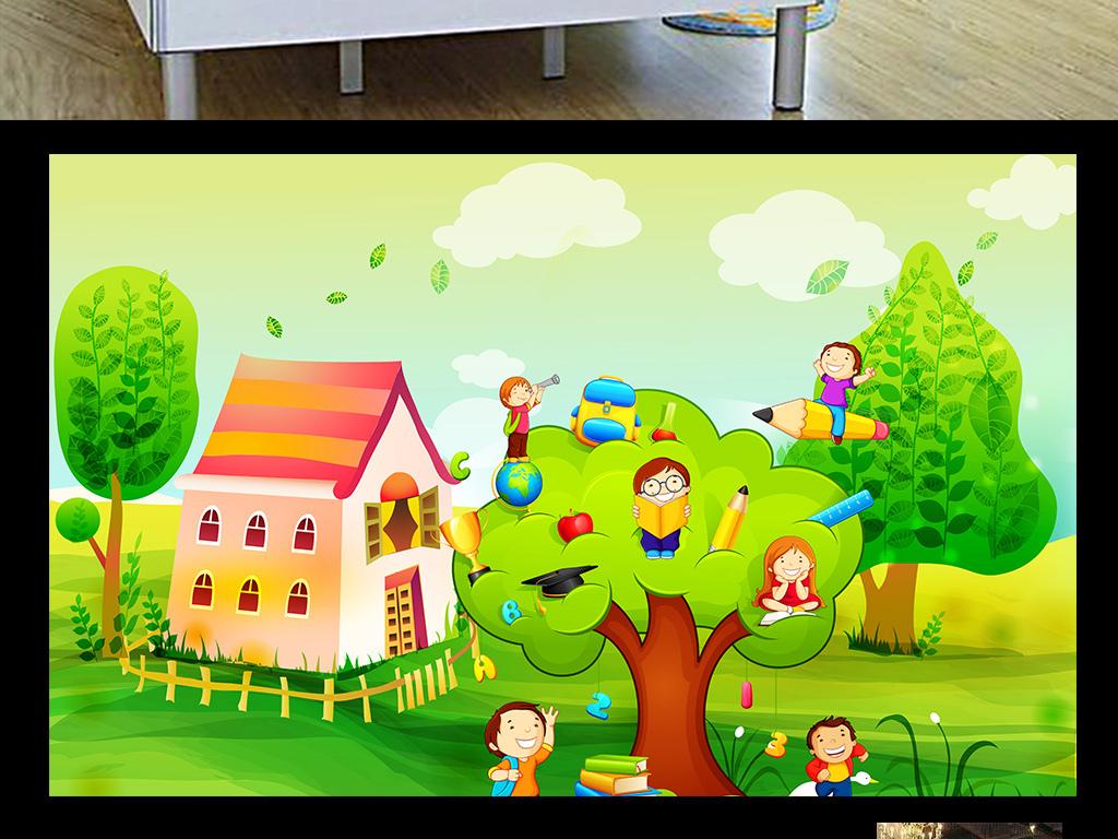 手绘小清新卡通画儿童房背景墙