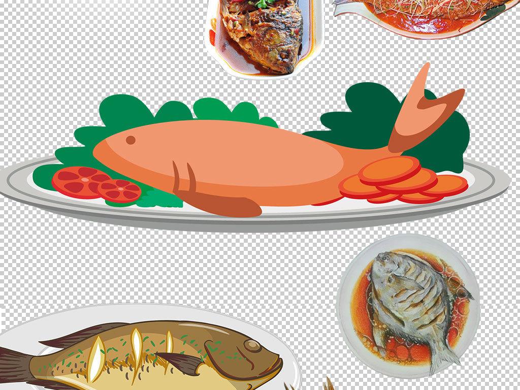 卡通红烧鱼菜品图片海报素材图片